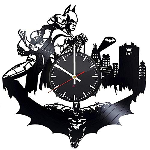 - Batman and Catwoman Superheroes HANDMADE Vinyl Record Wall Clock - Get unique bedroom wall decor - Gift ideas for men and women - Comics Figures Silhouette Unique Modern Art