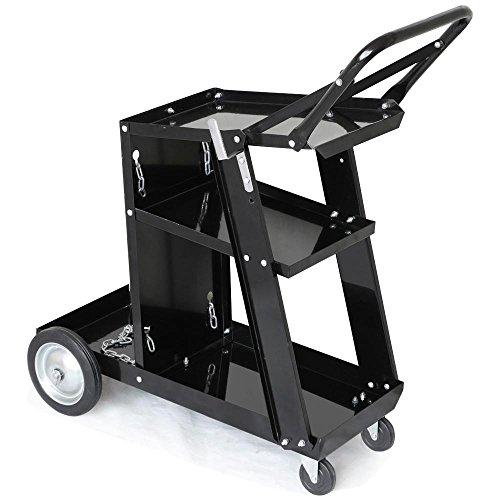 Topeakmart 3-Tier Welder Welding Cart Plasma Cutter, MIG TIG ARC Welding Cart Universal Storage for W/Tank, 176lbs Capacity Black