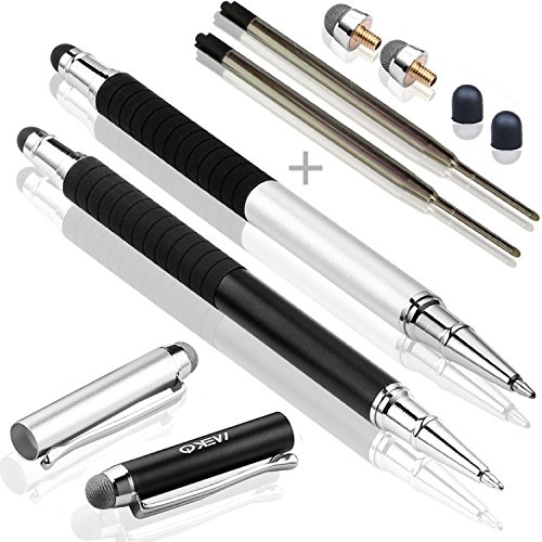 MEKO(TM) [New Version] Metal Barrel With Rubber Grip 5.7inch(L) Stylus Pen - [3 in 1 Basic Series] -Rubber Tip and Micro Fiber Tip Styli Stylus W/ Ballpoint Pen (2Pcs) Bundle With 2 Replacement Fiber Tips ,2 Refill Ink -(Silver/Black) ()