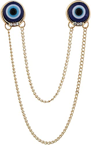 Hellery Puntas De Cuello De Camisa Vintage, Botón De La Insignia del Pin De La Solapa De La Cadena para Los Hombres Collar Clip Pin Broche Accesorios De La Ca - Dorado: