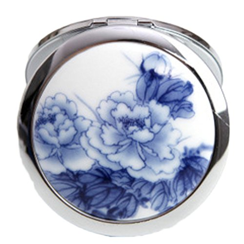 Qingsun Makeup Mirror for Purses and travel , Chinese Landscape Flower Bird Double Sides Portable Foldable Pocket Metal Makeup Compact Mirror Woman Cosmetic Mirror