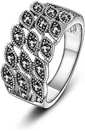 Mytys Punk Retro Faceted Cut Marquise Marcasite Band Rings