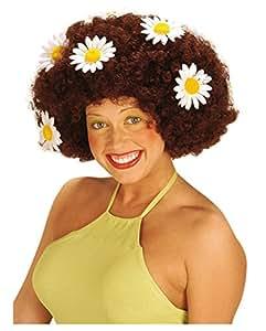 Flower Power Afro Wig Brown (peluca)