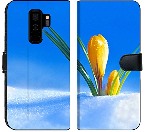 Samsung Galaxy S9 Plus Flip Fabric Wallet Case Image of Yellow Floral Beautiful Spring Nature Flower Bloom Beauty Blossom Flora Plant Green Leaf Petal Macro