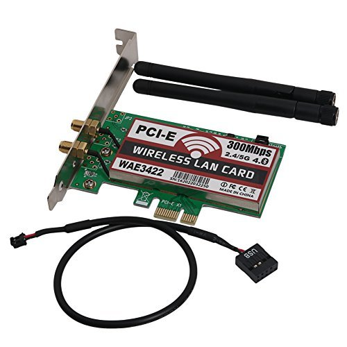Slaxry Wireless Dual-Band 300Mbps PCI Express Adapter Network Card Wlan WiFi Adapter with Bluetooth 4.0 2dBi Antenna by Slaxry
