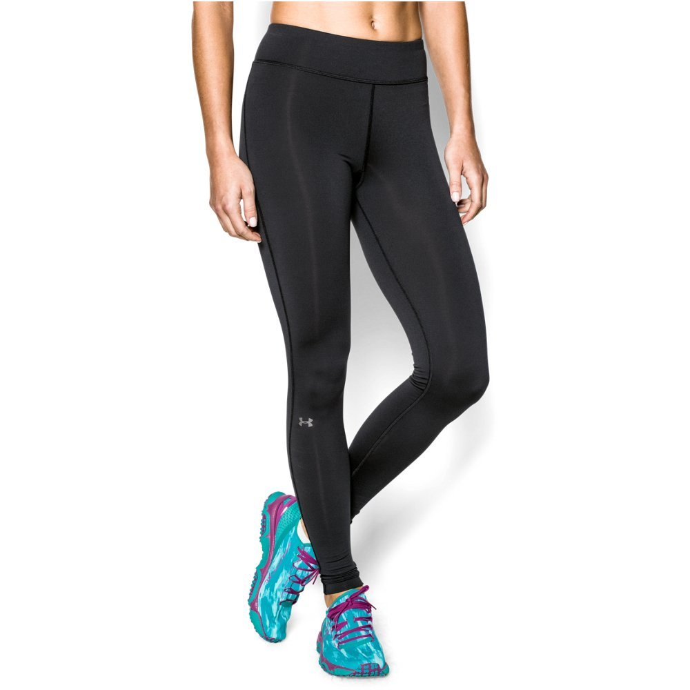 Under Armour Women's ColdGear Authentic Compression Leggings,  Black/Metallic Silver - XX-Large