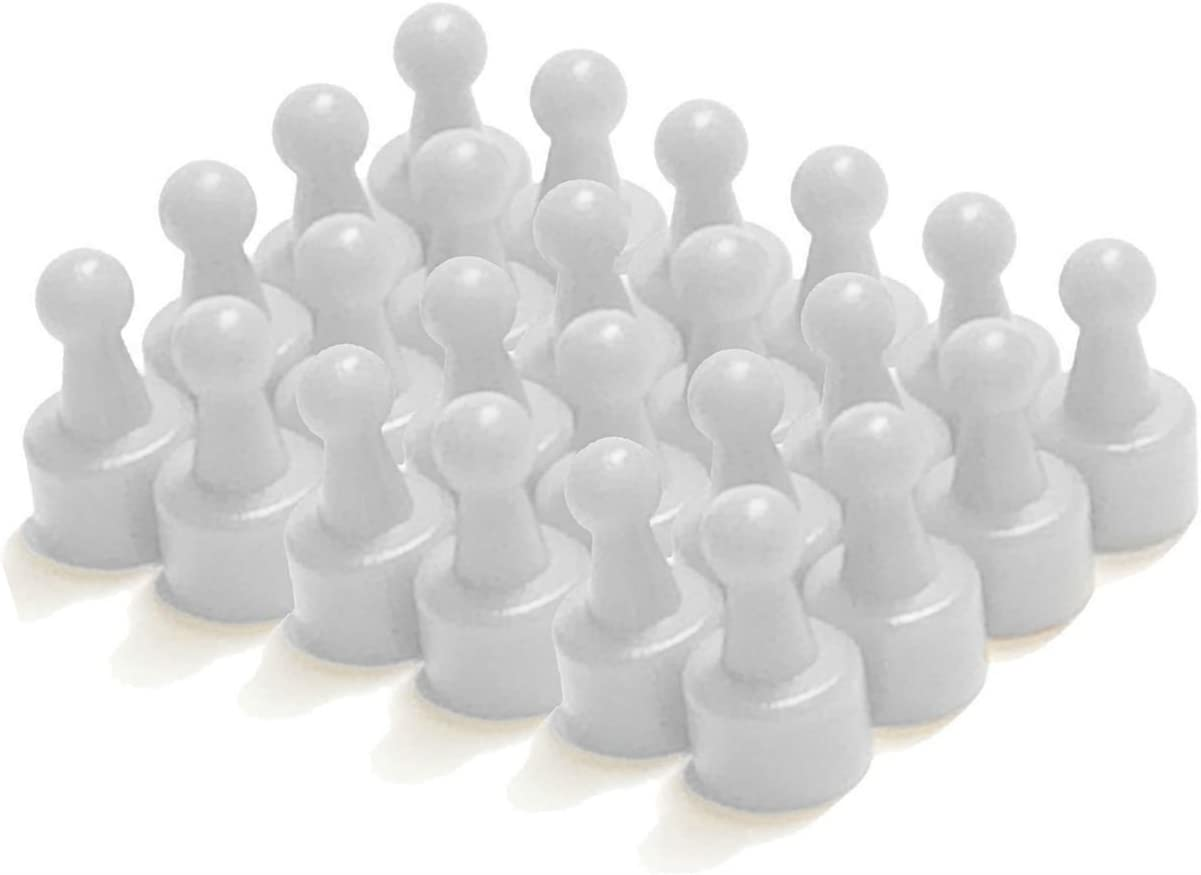 24 White Pawn Magnetic Map/Push Pins - Perfect for Maps, Whiteboards, Refrigerators, and the Office