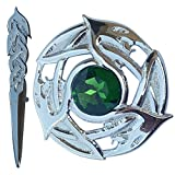 Traditional Scottish Kilt Pin Celtic Serpent Chrome Finish 4''/Highland Fly Plaid Brooch Green Stone Set of 2