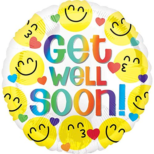 Get Well Soon Rainbow Colors Smiley Faces 18'' Mylar Balloon Get Well Soon Birthday Party Decorations Supplies