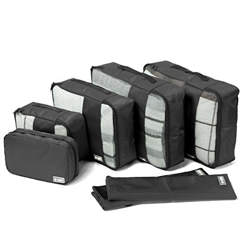 Coolife Packing Cubes Travel Organizers with Laundry Bag 7 Set Hanging Toiletry Bag Portable (black) by Coolife