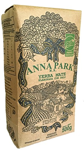 "Anna Park Yerba Mate - Organic - 1.1 LB / 500 g / 17.6 oz 1 A TRADITIONAL TEA: Yerba Mate has been used for centuries in South America as a natural stimulant to support mental clarity and focus. Described as offering ""the strength of coffee, benefits of tea, and the euphoria of chocolate"". Anna Park Yerba Mate is a powerful and all natural, appetite curbing tea that provides energy, improves digestion and boosts your immune system. HIGHEST QUALITY AND PURITY: Our Yerba Mate is certified 100% organic, naturally gluten free and vegan without any artificial flavors or colors. Sustainably farmed, sourced from Argentina and naturally caffeinated. This exquisite Yerba Mate is produced over 3 years, protecting ecological reserve and environment. VITAMIN & MINERALS PACKED: Anna Park Yerba Mate is rich in vitamins A, C, E, B1, B2, B3, B5, and B Complex. Also contains Calcium, Manganese, Iron, Selenium, Potassium, Magnesium, Silicon, Phosphorus. 15 Amino Acids, Fatty Acids, Chlorophyll, Flavonoids, Polyphenols, and traces minerals."