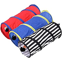 JD Million shop 1 pcs Pet Colorful Striped Playing Tunnel Rabbit Kitten Collapsible Tunnel Cat Foldable Toy Long Play Tunnel Dog Products Pet Supplies
