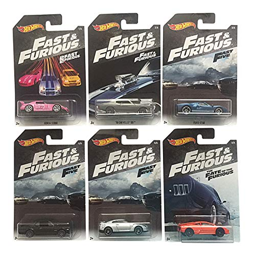 Hot Wheels Fast & Furious Bundle of 6 Cars from Fast & Furious, 2 Fast 2 Furious, Fast 5, The Fate of The Furious Movies