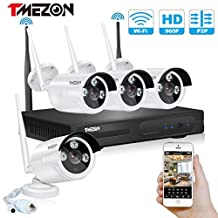[New Upgraded] TMEZON 960P 4CH HD Wireless Security Camera System with 4x HD WiFi Day Night Vision Outdoor IP Cameras (1.3MP, IP66, 80ft IR, No HDD)