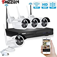 TMEZON Better Than 720P 4CH 960p HD Wireless Security Camera System with 4x HD WiFi Day Night Vision Outdoor IP Cameras (1.3MP, IP66, 80ft IR, No HDD)
