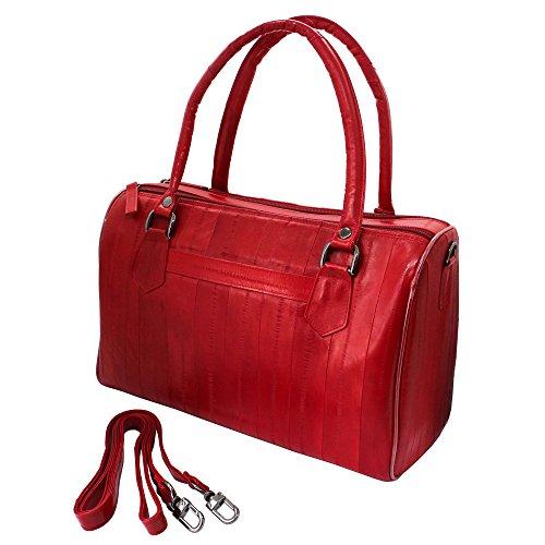 Eel Skin Purse (Women's Genuine Eel Skin Dainty Tote Bag Boston Bag (Red))