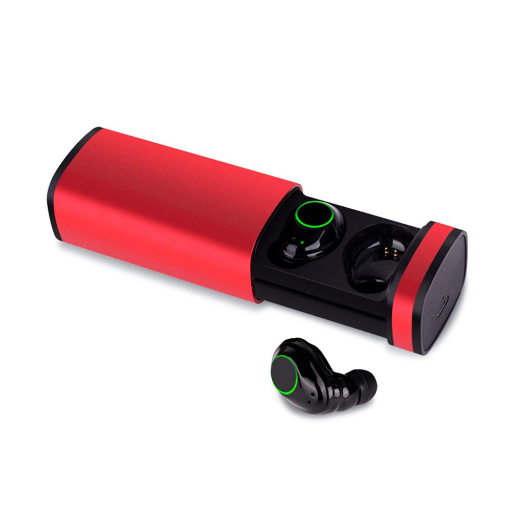 Long-Lasting Bass Headset Dynamic Noise Reduction LAIHUI Wireless Bluetooth Earphones 5.0 Sports Headset Waterproof Smart Charging case Red