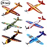 "iBaseToy 24 Pack Flying Glider Plane - 8"" Foam Airplane Toys in 6 Different Designs, Birthday Party Favors, Classroom Rewards, Carnival Prizes for Kids Boys Girls"