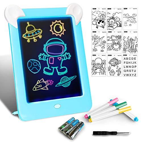 🥇 Tableta de Dibujo Pizarra 3D Mágico con Luces LED Educativo Infantil Dibujo & Marco de Fotos Regalos Juguetes para Niños