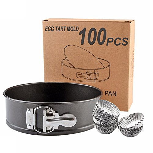 Springform Pans, Bakeware 9.8 inch Springform Pan and 100 PCS Reusable Egg Tart Mold (Set of 101 pcs) B-0016/T-0102 Guaranteed Quality by Homesupplier