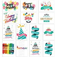 PartyKindom 48 Pack Birthday Cards with 12 Colorful Design, Blank Cards Include Envelopes and Stickers, Suitable for Women and Men, Children and Adults