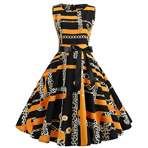 Birdfly Vintage 50'S Style Unique Chain Print Dresses For Women Plus Size Boutique Ball Gown (S, Yellow) ()