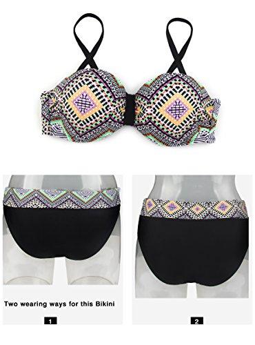 Marrone Costumi Vintage Push Fino Classica Color Donne Pure Bikini Bikini Angerella v8BqwX