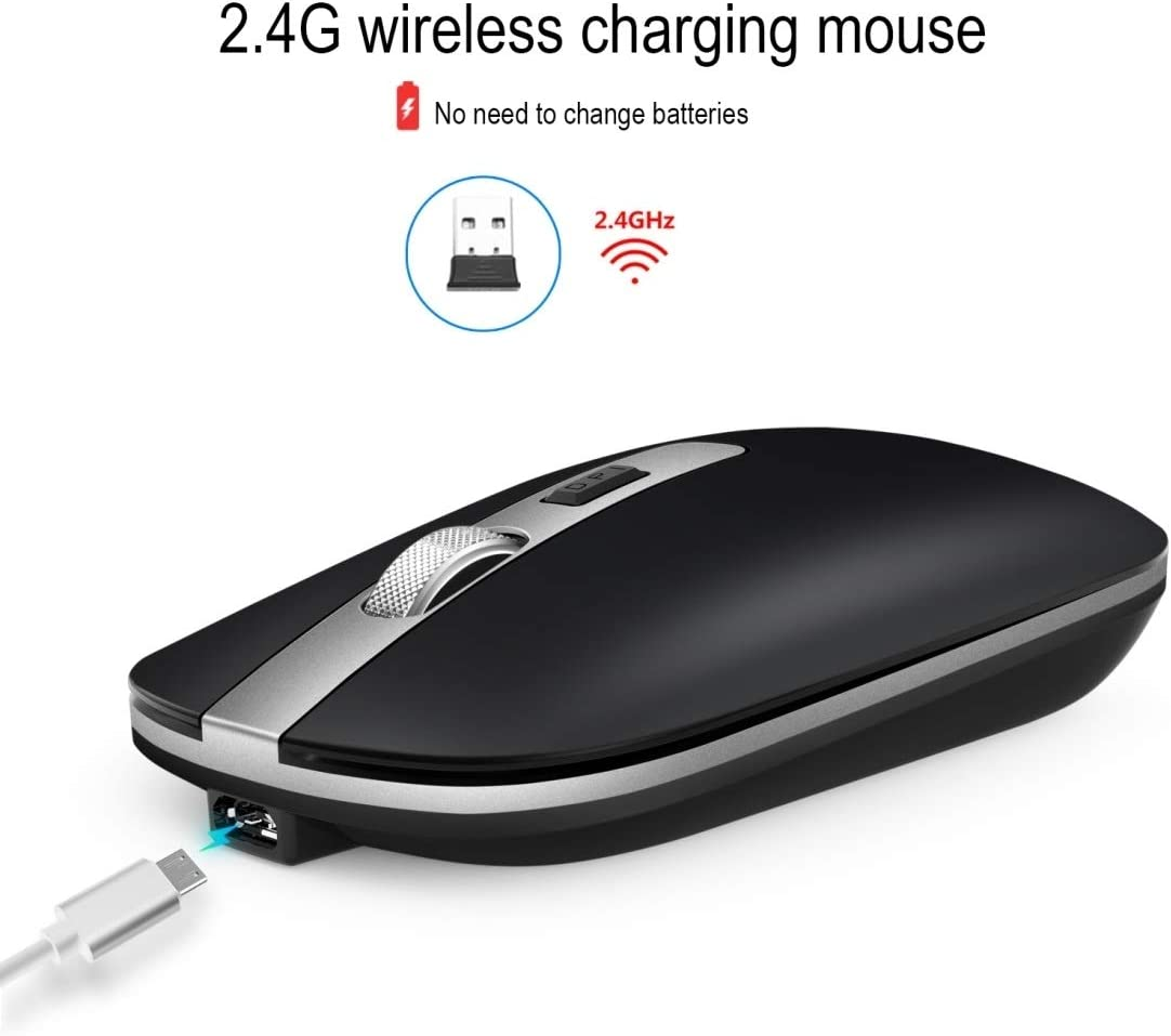 M30 Rechargeable Wireless Mouse Metal Wheel Mute 2.4G Office Mouse 500 mAh Built-in Battery Color : Pink