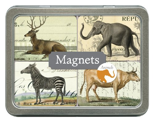 Cavallini Magnet Set Animals, 24 Assorted Magnets Packaged in a Tin