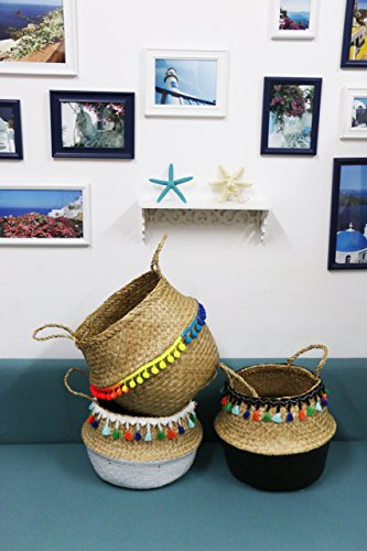 GRAS Modern hand-woven pom pom sea grass belly basket/ laundry picnic storage basket/Wholesales bulk -