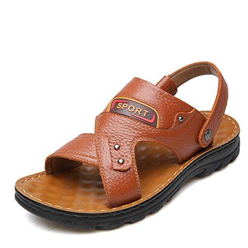 Cuero Hombres de Yellow para Sandalias Redonda Casual Zapatos Transpirable Playa QXH Cabeza EqZwYAO