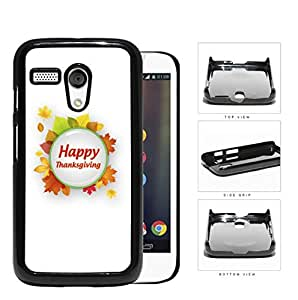 Happy Thanksgiving Green Circle With Autumn Leaves Motorola (Moto G) Hard Snap on Plastic Cell Phone Case Cover