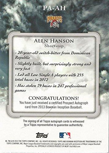 2014 Bowman Inception Prospect Auto #PA-AH Alen Hanson Pittsburgh Pirates