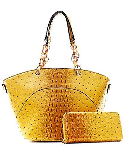 Handbag Inc Ostrich Vegan Leather Hobo Shoulder Handbag and Wallet (Black) by Handbag Inc (Image #1)