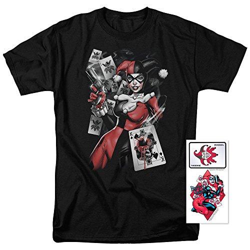Harley Quinn DC Comics Joker Cards T Shirt & Exclusive Stickers (Medium) (Comics Joker Dc)