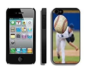 Hot Sell Iphone 4s Case Popular Baseball Pattern Iphone 4 Black Hard Cover