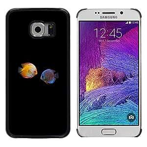 Paccase / Dura PC Caso Funda Carcasa de Protección para - Fish Love Black Minimalist Diving Coral - Samsung Galaxy S6 EDGE SM-G925
