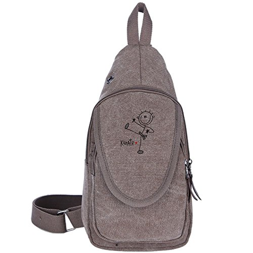 Ooiilpe Men Women Basic Male Stick Figure Karate Canvas Chest Pack Crossbody Casual Sling Shoulder Bag Travel Hiking Brown Female Karate Figure