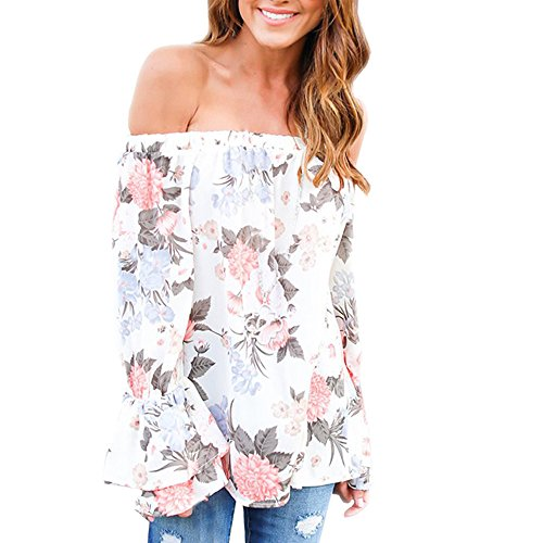 Women Blouse, TOPUNDER Fashion Off Shoulder Floral Printed Casual Tops T Shirt (XXXL, Multicolor) (Beaded Cotton Top)