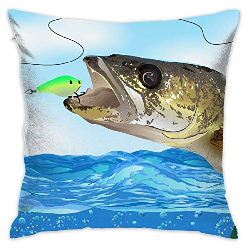 CCGGJPYI Walleye Fish Take The Bait Decorative Throw Pillow Cover for Bedroom Couch Sofa Red Camo Pillowcase Pillow Cover Cushion Cover 18 x 18 Inches