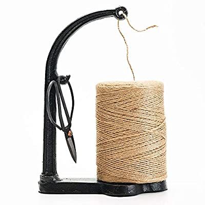 Sungmor Cast Iron Garden Twine Holder Set - 1300ft. Natural Jute Twine String & Rope Rack & Scissors - Decorative & Practical Home Arts Crafts Tools for Picture Display Gift Wrapping Packing Gardening: Home & Kitchen