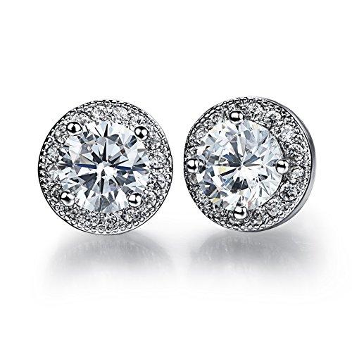 Circular Dangle Earrings (Silver Tone Around Small Diamonds Circular Cut Cubic Zirconia Stud Earrings)