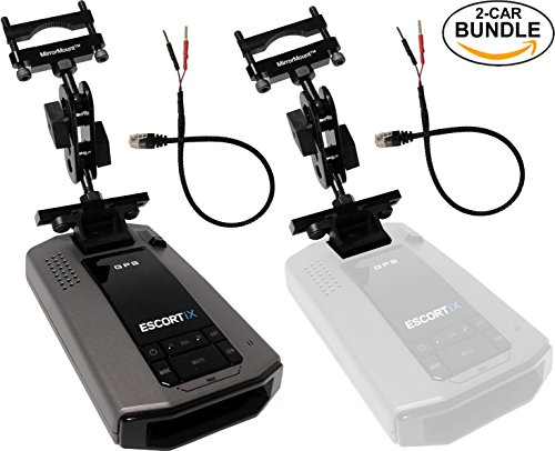 Escort iX Intelligent Long Range Radar Laser Detector, Black + 2 RadarMount MirrorMount Radar Detector Brackets + 2 RadarMount MirrorWire Power Cords (2-CAR BUNDLE) by Escort RadarMount
