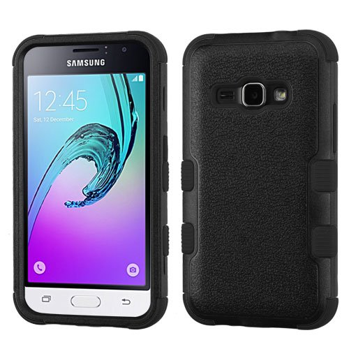 Samsung Galaxy Luna (TRACFONE) Case, Galaxy Luna Cases, BornTech Dual Layer Shockproof Tuff Protector Phone Case Cover (Black/Black)