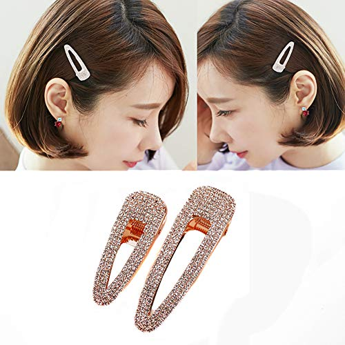 2PCS Lady Women Sweet Rhinestone Crystal Hairpin Duckbill Clip Alligator Clip Simple Fashion Alloy BB Hairgrip Hair Accessories (Rose gold) (Jz Rose)