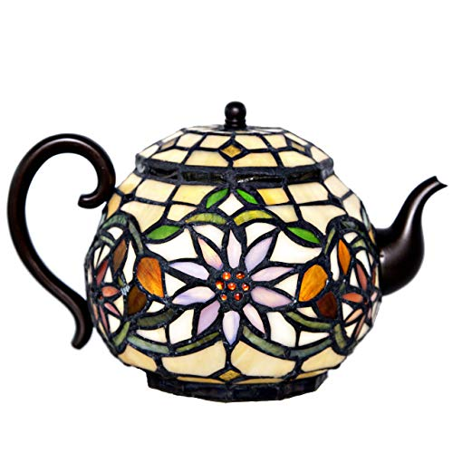 Stained Glass Teapot Accent Lamp Tiffany Style Tea Pot