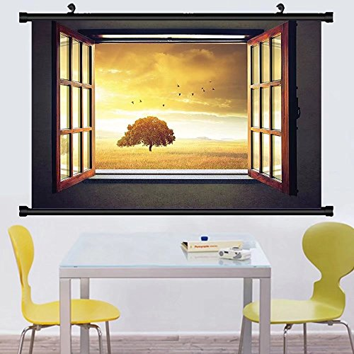 Gzhihine Wall Scroll House Decor Collection Looking Out An Open Window to A Sunny Spring Birds Countryside Landscape mage Pattern Wall Hanging Yellow Green - Sunnies Print Signed