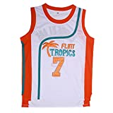 AMISHU Mens 7 Flint Tropics Coffee Black Semi Pro Basketball Jersey S-XXL White (Medium)