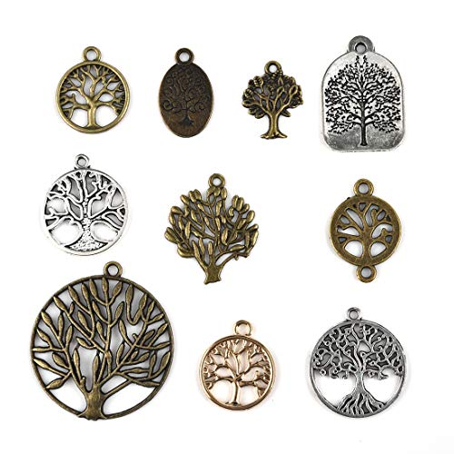 Craft Supplies Tree of Life Charms Wholesale Assorted Colour Vintage Pendants for Jewelry Making Mixed 10pcs -