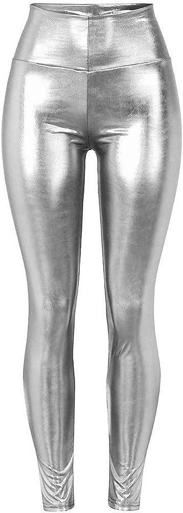 TWIFER Damen Strethcy Shiny Sport Fitness Leggings Elastic Waist Hosen